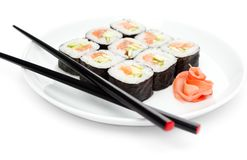 Fresh maki rolls on the plate Royalty Free Stock Image