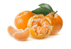 Fresh mandarin composition isolated on white background Royalty Free Stock Image