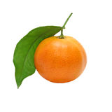Fresh mandarin with green leaf taken closeup.Isolated. Stock Photo