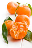 Fresh mandarin with green leaves Royalty Free Stock Photography