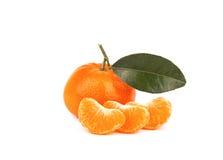 Fresh mandarin with leaf isolated on white. Background Stock Photo