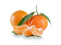 Fresh mandarin with leaf  on white Royalty Free Stock Photo