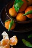 Fresh mandarin oranges fruit with leaves Stock Photo