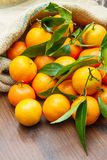 Fresh mandarin oranges fruit with leaves. On wooden table Stock Photography