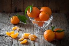 Fresh mandarin oranges fruit with leaves Stock Photos