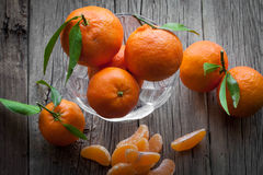 Fresh mandarin oranges fruit with leaves Royalty Free Stock Images