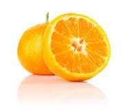 Fresh mandarine fruit with cut. Isolated on white background stock photo