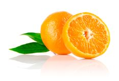 Fresh mandarine fruit with cut and green leaves. Isolated on white background stock photos