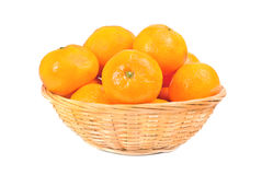 Fresh mandarines in  dishes for fruit  over white Royalty Free Stock Images