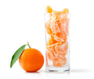Fresh Mandarins. Fresh Tangerine and Segments in a Glass Isolated on White Stock Photo