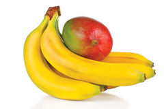 Fresh mango and bunch of bananas Stock Images