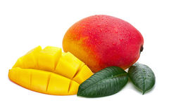 Fresh Mango Fruit with Cut and Green Leaves Isolated on White Ba Stock Images