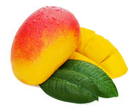 Fresh mango fruit with cut and green leaves isolated Royalty Free Stock Images
