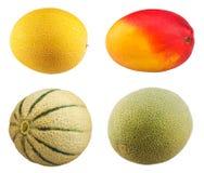 Fresh Mango fruit, ripe cantaloupe melon on white Stock Image