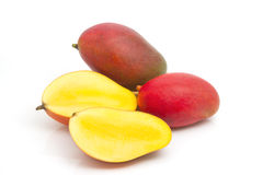 Fresh Mango fruit with slices Stock Photos