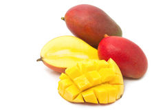 Fresh Mango fruit with slices Stock Photo