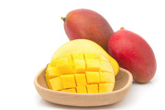 Fresh Mango fruit with slices Royalty Free Stock Image