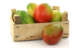 Fresh mango fruit in a wooden box Royalty Free Stock Photo