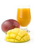 Fresh mango and glass of mango juice Royalty Free Stock Photography