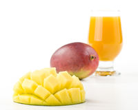 Fresh mango and glass of mango juice Royalty Free Stock Photos