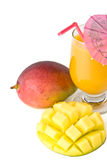 Fresh mango and glass of mango juice Royalty Free Stock Photos