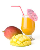 Fresh mango and glass of mango juice Stock Photos