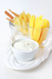 Fresh mango and pineapple and curd cheese Royalty Free Stock Images
