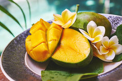 Fresh mango on a wooden tabel with tropical background. Soft focus. Fresh mango in the plate on a wooden tabel with tropical background. Soft focus Stock Images