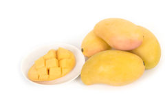 Fresh Mangoes and slice Stock Images