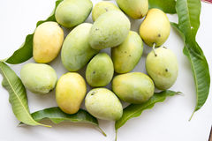 Fresh mangoes. On white background with leaf royalty free stock photos