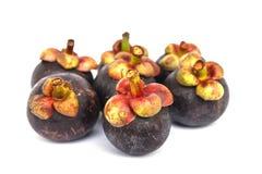 Fresh mangosteen fruit. Close up macro Isolated on white background Royalty Free Stock Image
