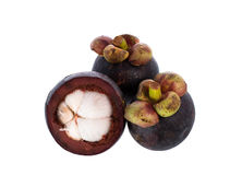 Fresh mangosteen fruit. Fresh mangosteen isolated on white stock photo
