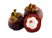 Fresh mangosteen isolated on white background. Royalty Free Stock Images
