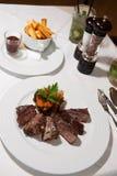 Fresh marinated beef steak served Royalty Free Stock Photo