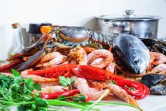 Fresh  marine products. In domestic kitchen Royalty Free Stock Image