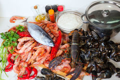 Fresh marine products Stock Photos