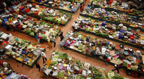 Fresh market. An aerial view of an open fresh market in Kota Bharu stock photo