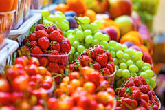 Fresh market produce. At an outdoor farmer`s market Royalty Free Stock Image