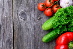 Fresh market vegetables on wooden background Stock Images