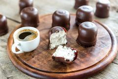 Fresh marshmallows with cup of coffee Stock Images