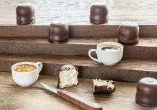 Fresh marshmallows with two cups of coffee Stock Image