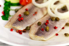 Fresh Matie,Young Herring with Onion , Potato Stock Photography