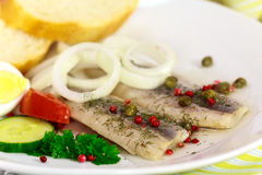 Fresh Matie,Young Herring with Onion , Potato Stock Images