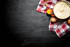 Fresh mayonnaise with the eggs and olive oil. Royalty Free Stock Images