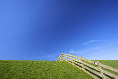 A fresh meadow in spring with a fence and a blue s Stock Image