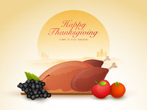 Fresh meal for Thanksgiving Day celebration. Happy Thanksgiving Day celebration with fresh cooked chicken, fruits and vegetable on nature background royalty free illustration