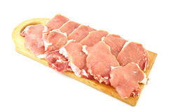 Fresh meat. Pieces of fresh meat ready to cook isolated on white Stock Photos