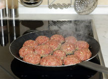 Fresh meat balls in a pan Stock Photography