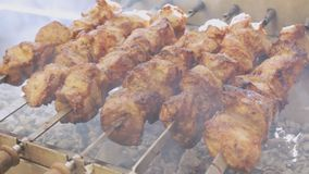 Fresh meat barbecue on skewers close up. Grilled meat cooking at the bbq street food festival. Slow motion. Fresh meat barbecue on skewers. Grilled meat cooking stock video footage