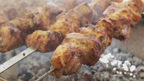 Fresh meat barbecue on skewers close up. Grilled meat cooking at the bbq street food festival. Fresh meat barbecue on skewers. Grilled meat cooking at the stock footage